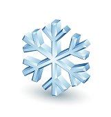 Three dimensional snowflake icon on white background