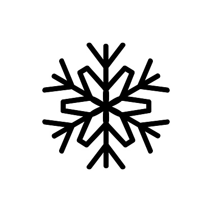 Snowflake icon vector. Isolated contour symbol illustration