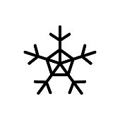 Snowflake icon vector. Thin line sign. Isolated contour symbol illustration