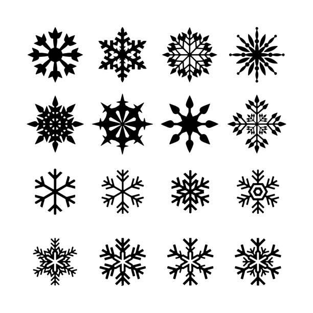 снежинка иконы черный вектор силуэт иллюстрация - snowflakes stock illustrations