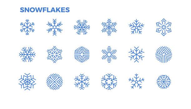 ilustraciones, imágenes clip art, dibujos animados e iconos de stock de iconos de copo de nieve. cristales de nieve para la decoración de navidad y temas de invierno. movimiento editable. - snowflakes
