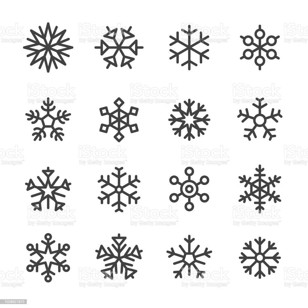 Schneeflocke Icons - Line Serie - Lizenzfrei Abstrakt Vektorgrafik