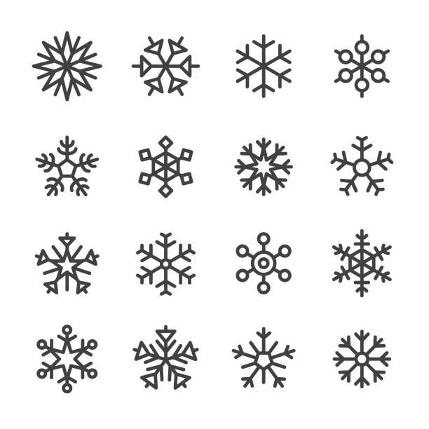 Snowflake Icons - Line Series Snowflake, christmas icons stock illustrations