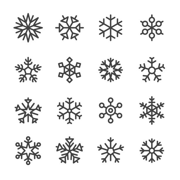 Snowflake Icons - Line Series Snowflake, christmas icons stock illustrations