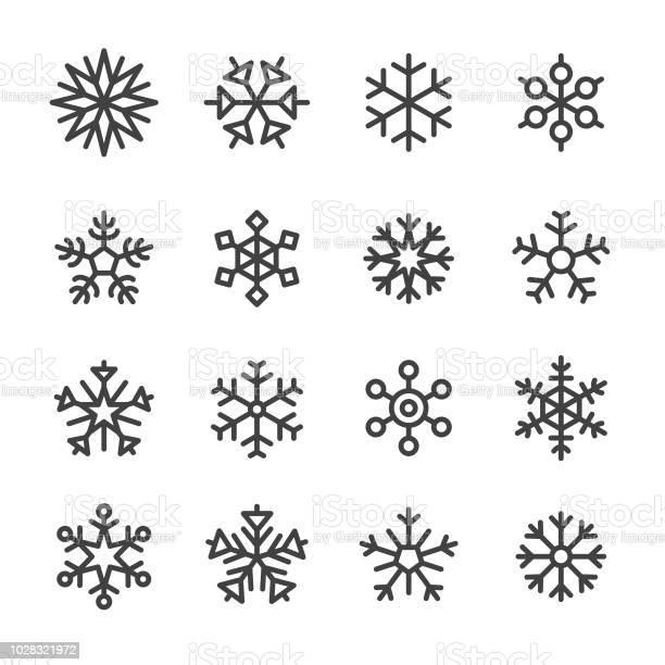 Schneeflocke Icons Line Serie Stock Vektor Art und mehr Bilder von Abstrakt