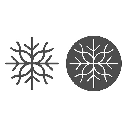 Snowflake line and solid icon, Christmas and New Year concept, flake of snow sign on white background, winter precipitation icon in outline style for mobile concept and web design. Vector graphics.
