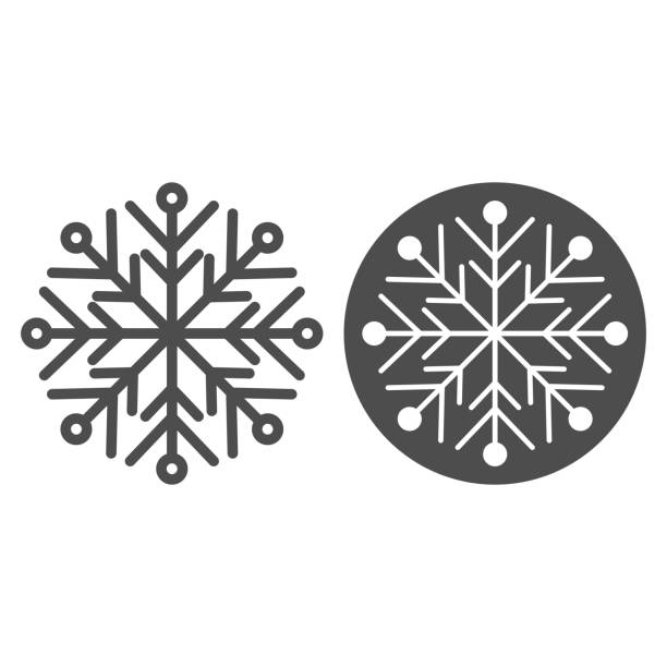 Snowflake line and solid icon. Ice crystal flake of snow sixfold symmetry outline style pictogram on white background. Christmas and New Year signs for mobile concept and web design. Vector graphics. Snowflake line and solid icon. Ice crystal flake of snow sixfold symmetry outline style pictogram on white background. Christmas and New Year signs for mobile concept and web design. Vector graphics winter weather clip art stock illustrations