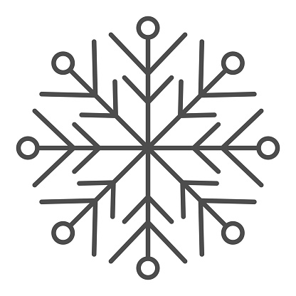 Snowflake line and solid icon. Ice crystal flake of snow sixfold symmetry outline style pictogram on white background. Christmas and New Year signs for mobile concept and web design. Vector graphics.