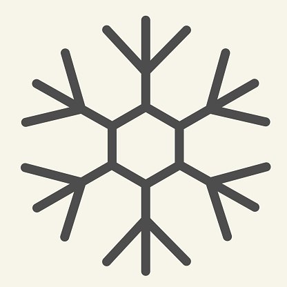 Snowflake line icon. Ice crystal flake of snow with sixfold symmetry outline style pictogram on white background. New Year signs for mobile concept and web design. Vector graphics.
