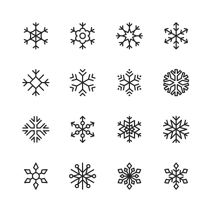 Snowflake Line Icons. Editable Stroke. Pixel Perfect. For Mobile and Web. Contains such icons as Snow, Snowflake, Christmas Ornament, Decoration.