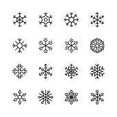 16 Snowflake Outline Icons.