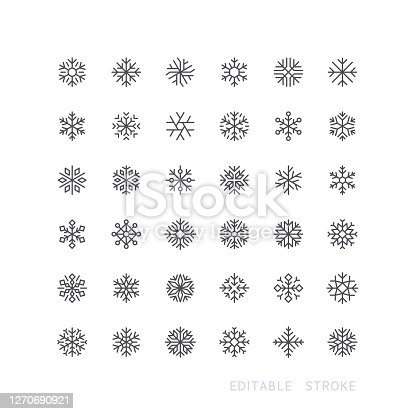 Set of snowflake line vector icons. Editable stroke.
