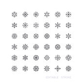 Set of snowflake line vector icons. Editable stroke.