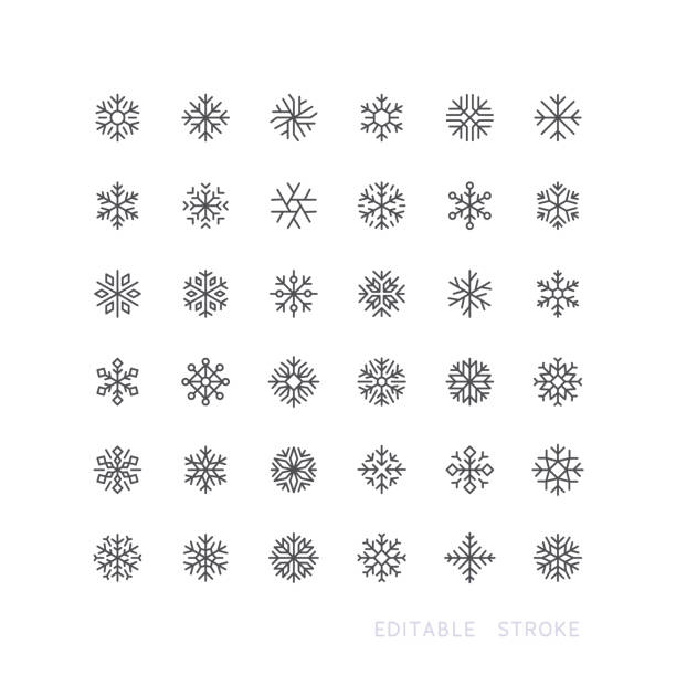 Snowflake Line Icons Editable Stroke Set of snowflake line vector icons. Editable stroke. christmas icons stock illustrations