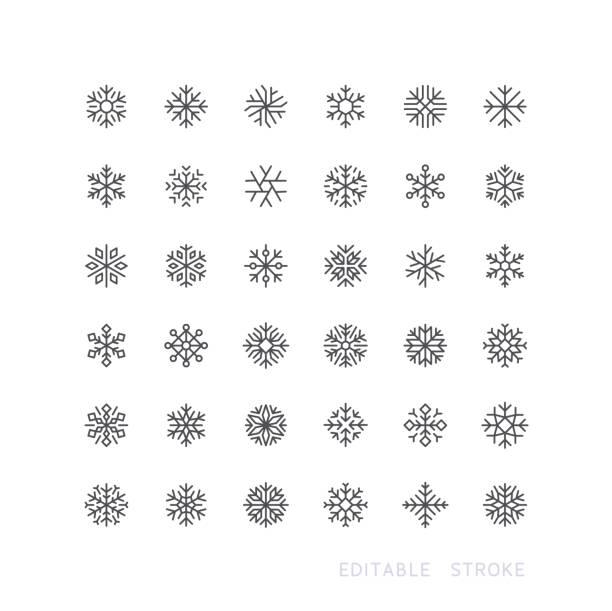 снежинка линия иконки редактируемый инсульт - snowflakes stock illustrations