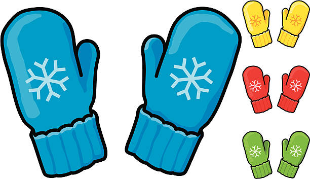 Snowflake Mittens Vector art of 4 pairs of snowflake mittens– blue, red, yellow and green. Zipped file contains separate .eps files for each color. Layers are named for easy editing with any vector program. mitten stock illustrations