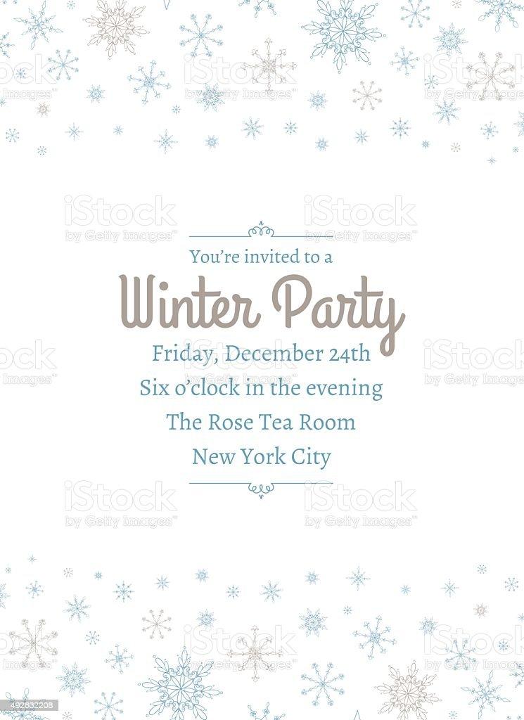 Snowflake Party Invitation Two vector art illustration