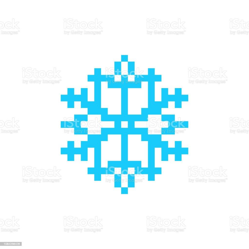 スノーフレーク ピクセル アート アイコンです。8 ビットは雪です。 ベクターアートイラスト
