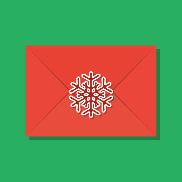 snowflake sealed red xmas envelope, secret santa concept - secret santa messages stock illustrations