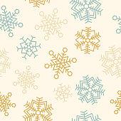 Seamless snowflake winter holiday background pattern.