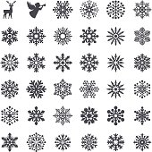 Vector illustration of snowflake set and Christmas elements.
