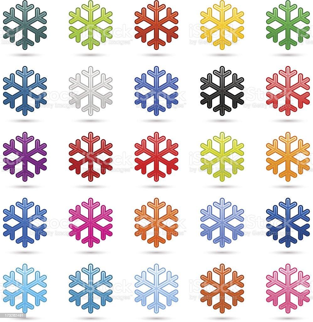 Snowflake sign color satin icon web internet button shadow reflection royalty-free stock vector art