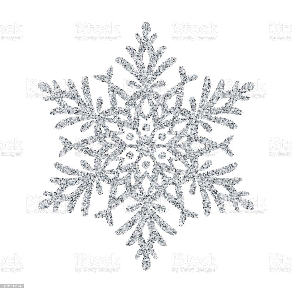 Snowflake - Silver glitter vector Christmas Ornament on white background vector art illustration