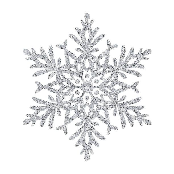 schneeflocke - silber glitter vektor christbaumschmuck auf weißem hintergrund - silber stock-grafiken, -clipart, -cartoons und -symbole