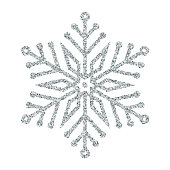 Snowflake - Silver glitter vector Christmas Ornament on white background