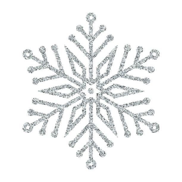Snowflake - Silver glitter vector Christmas Ornament on white background Snowflake - Silver glitter vector Christmas Ornament on white background desaturated stock illustrations