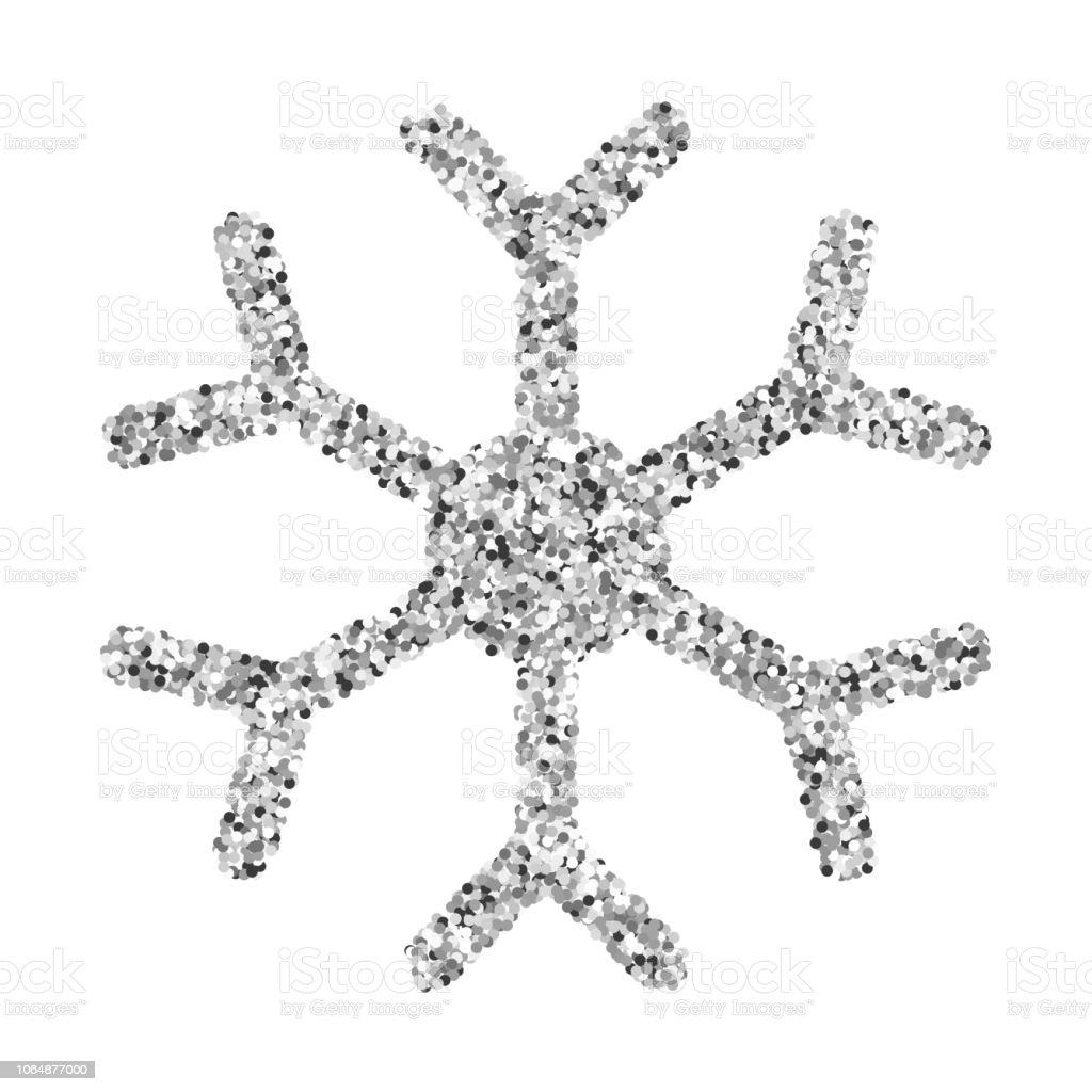 Snowflake - Silver glitter vector icon Snowflake - Silver glitter vector Christmas Ornament on white background Celebration stock vector