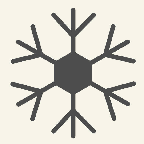 Snowflake solid icon. Ice crystal flake of snow with sixfold symmetry glyph style pictogram on white background. New Year signs for mobile concept and web design. Vector graphics. Snowflake solid icon. Ice crystal flake of snow with sixfold symmetry glyph style pictogram on white background. New Year signs for mobile concept and web design. Vector graphics winter weather clip art stock illustrations
