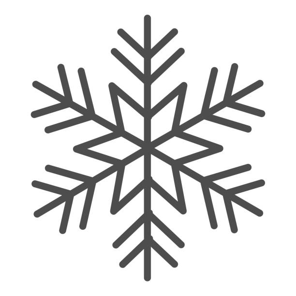 Snowflake solid icon, New Year concept, frozen winter flake symbol on white background, Snowflake icon in glyph style for mobile concept and web design. Vector graphics. Snowflake solid icon, New Year concept, winter symbol on white background, Snowflake icon in glyph style for mobile concept and web design. Vector graphics holiday and seasonal icons stock illustrations