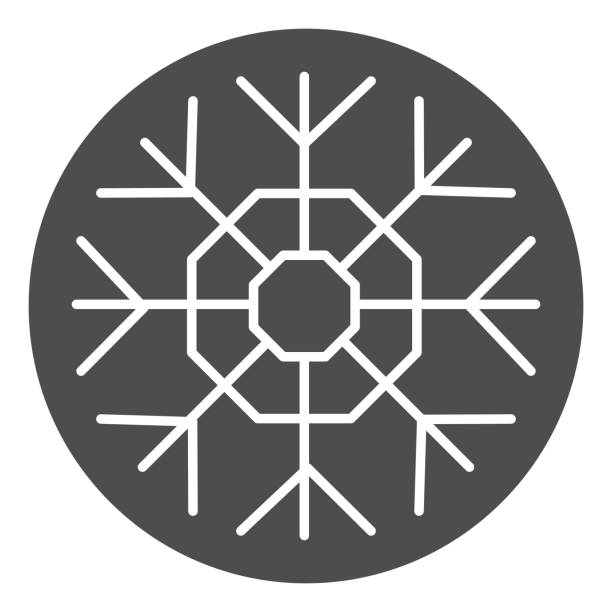 Snowflake solid icon. Winter snow crystal theme symbol, glyph style pictogram on white background. Christmas holiday sign for mobile concept and web design. Vector graphics. Snowflake solid icon. Winter snow crystal theme symbol, glyph style pictogram on white background. Christmas holiday sign for mobile concept and web design. Vector graphics winter weather clip art stock illustrations