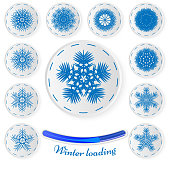 Snowflake stickers.Vector set of paper snowflakes. Paper icons for your winter design. Winter loading concept, develops small motor skills in children