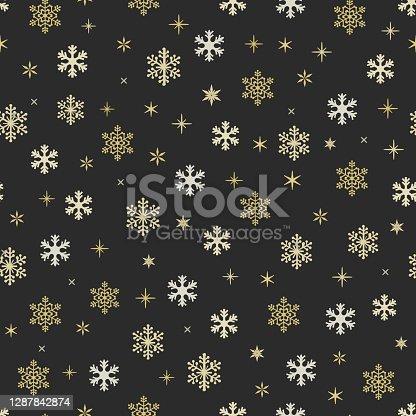 istock Snowflake symbol Christmas seamless pattern 1287842874