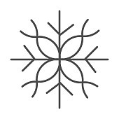 Snowflake thin line icon, Christmas and New Year concept, flake of snow sign on white background, winter precipitation icon in outline style for mobile concept and web design. Vector graphics