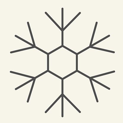 Snowflake thin line icon. Ice crystal flake of snow with sixfold symmetry outline style pictogram on white background. New Year signs for mobile concept and web design. Vector graphics.