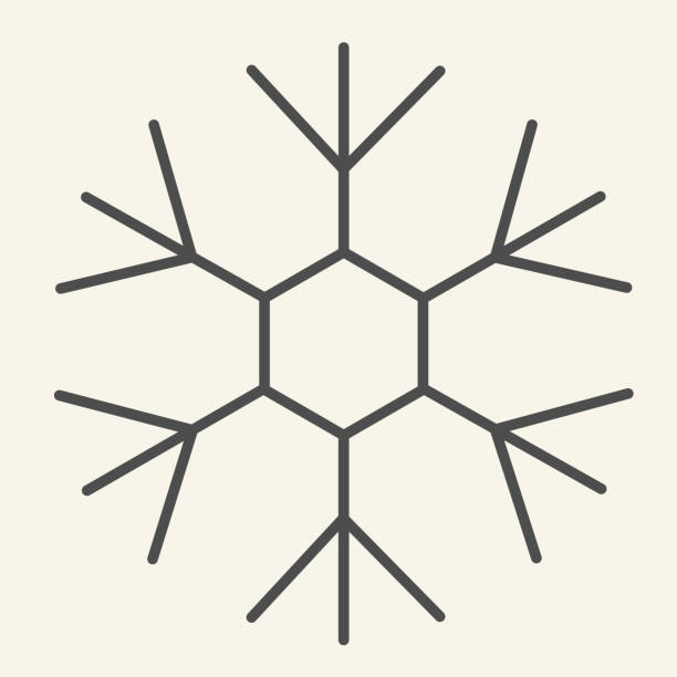 Snowflake thin line icon. Ice crystal flake of snow with sixfold symmetry outline style pictogram on white background. New Year signs for mobile concept and web design. Vector graphics. Snowflake thin line icon. Ice crystal flake of snow with sixfold symmetry outline style pictogram on white background. New Year signs for mobile concept and web design. Vector graphics winter weather clip art stock illustrations