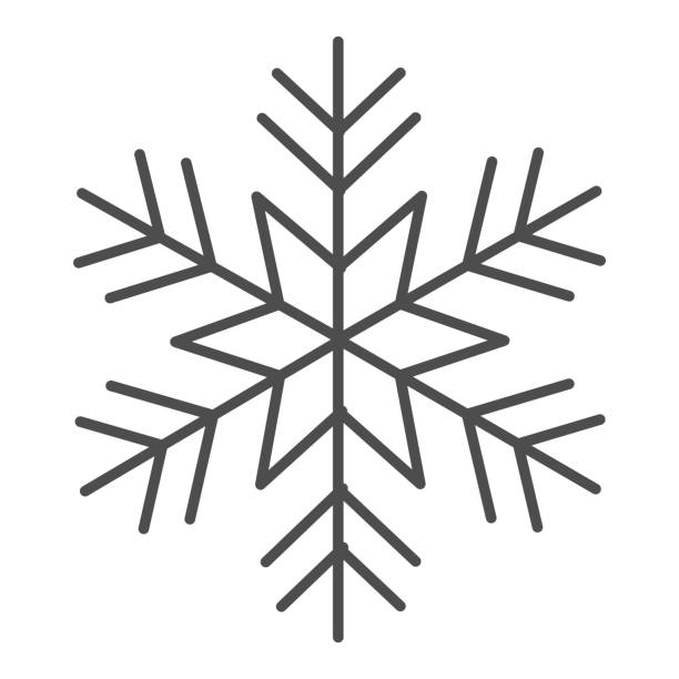 Snowflake thin line icon, New Year concept, frozen winter flake symbol on white background, Snowflake icon in outline style for mobile concept and web design. Vector graphics. Snowflake thin line icon, New Year concept, winter symbol on white background, Snowflake icon in outline style for mobile concept and web design. Vector graphics winter weather clip art stock illustrations
