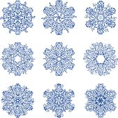 Schematic of a set of different shapes of snowflakes