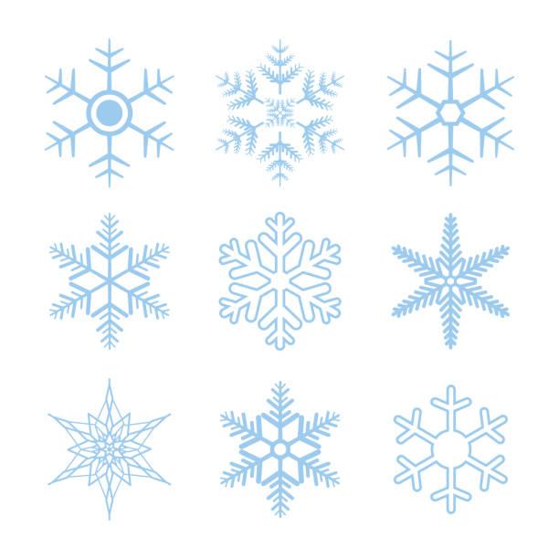 Schneeflocke Vektor setzen isolierten auf weißen Hintergrund. Schnee-Symbole für Weihnachten Banner, Karten. Neue Jahr Ornament. – Vektorgrafik