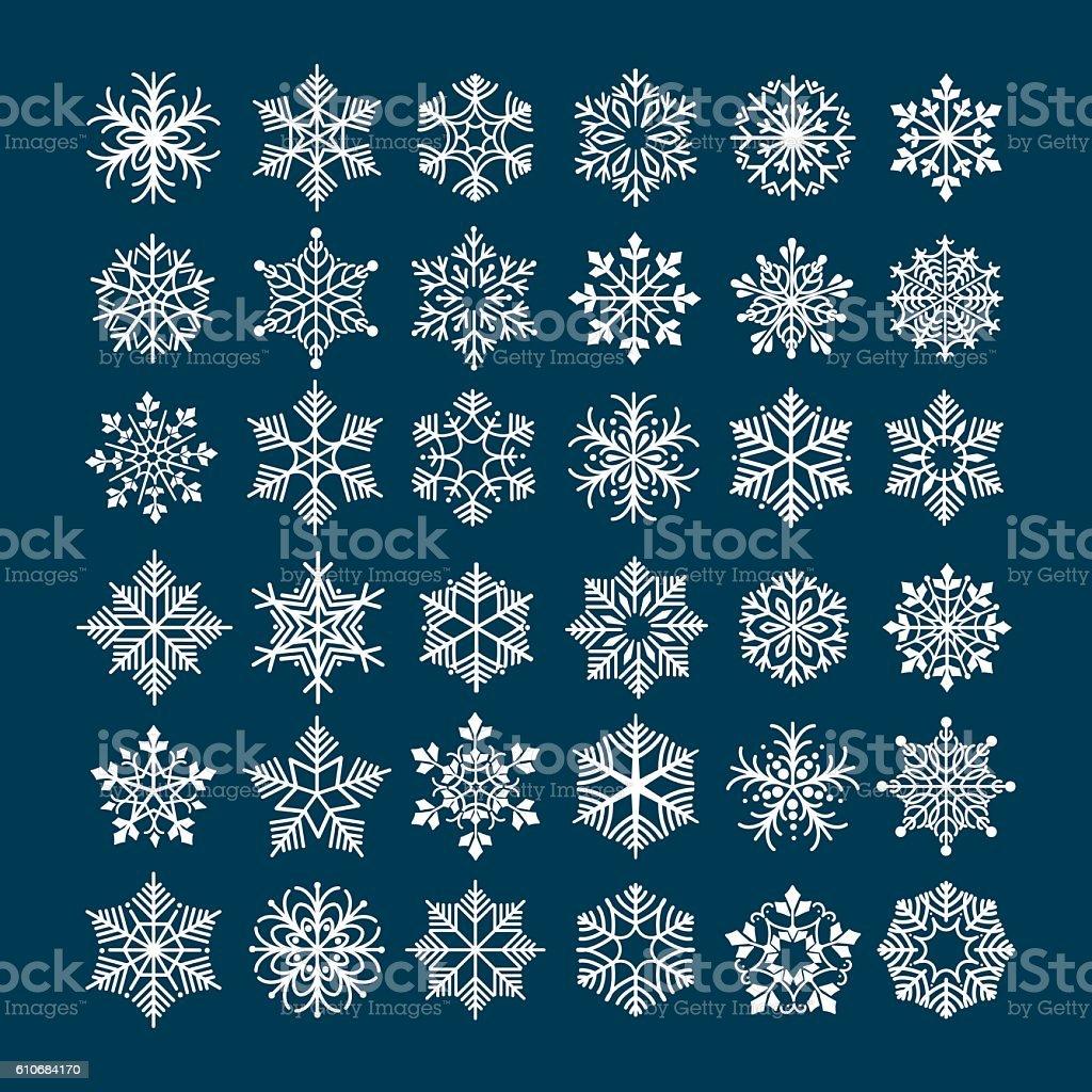 Płatek śniegu Wektor Zestaw Stockowe Grafiki Wektorowe I