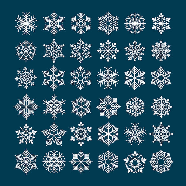 Snowflake vector set Snowflake vector set. Snowflakes silhouette clipart for winter holiday frosted and frozen decoration christmas clipart stock illustrations