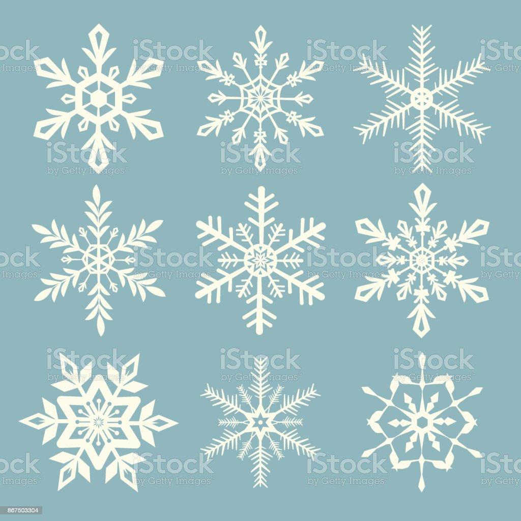 Snowflake vector set vector art illustration