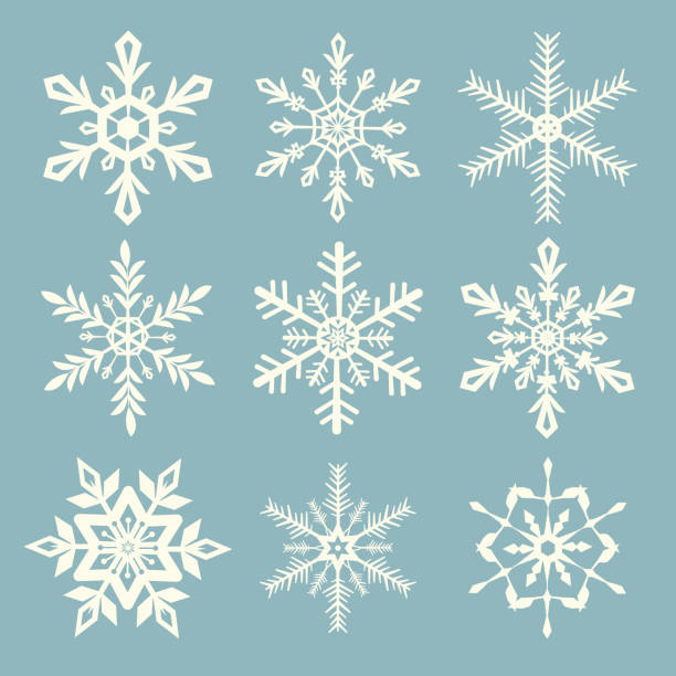 Snowflake vector set Vector illustration of snowflakes set icon collection. EPS Ai 10 file format. backgrounds clipart stock illustrations