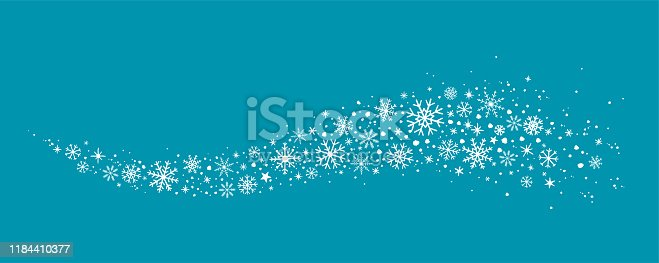 decorative winter background with hand drawn snowflakes, snow, stars, design elements