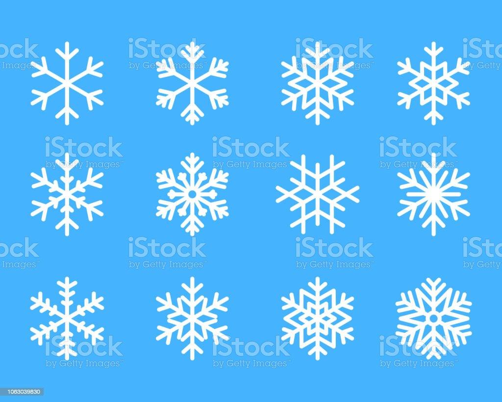 Schneeflocke Winter set blau isolierte Symbol Silhouette auf weißem Hintergrund-Vektor-illustration - Lizenzfrei Abstrakt Vektorgrafik