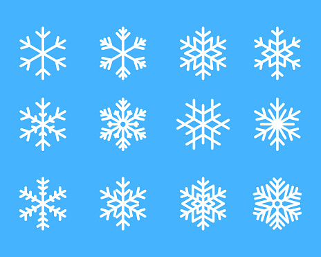 snowflake winter set of blue isolated icon silhouette on white background vector illustration clipart