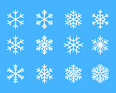 snowflake winter set of blue isolated icon silhouette on white background vector illustration